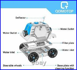 QOMOTOP Robotic Pool Cleaner, Cordless Automatic Pool Cleaner with Battery for